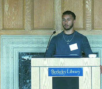 Erik Phillip giving a speech at the 2019 AC Student Prize Ceremony