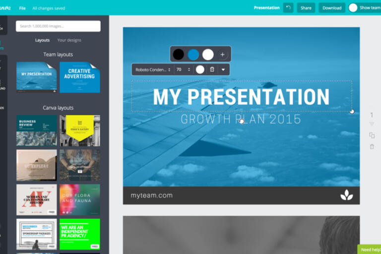 Screenshot of flyers being produced on Canva.com