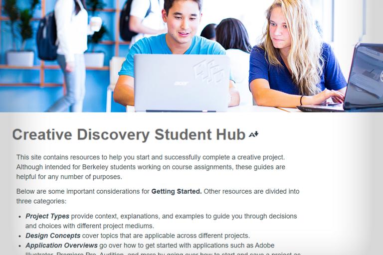 Screenshot of Creative Discovery Student Hub