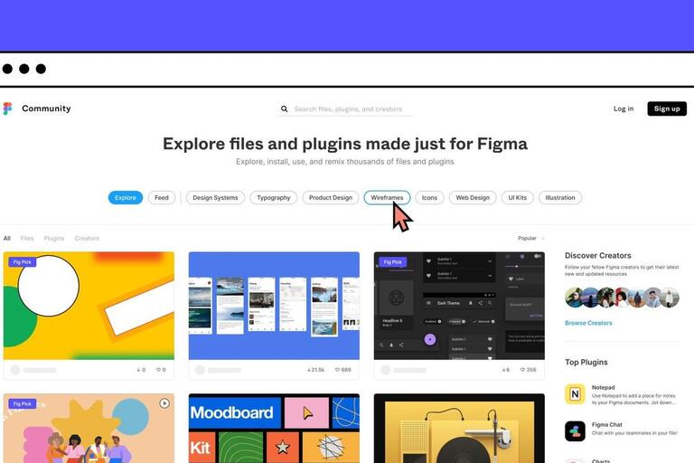 showcase of different online tools available on Figma.com