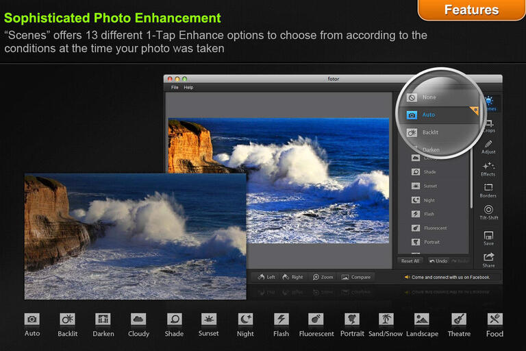 Screenshot displaying an example of how to use fotor to visually enhance photos