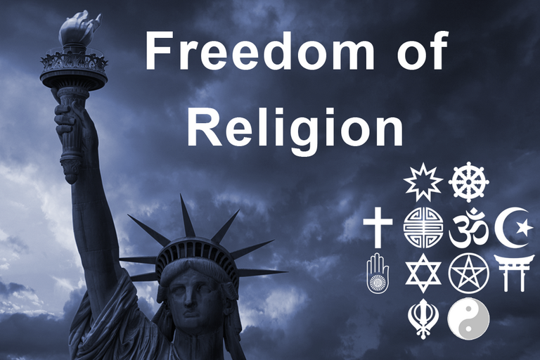 image of statute of liberty and symbols of major religions