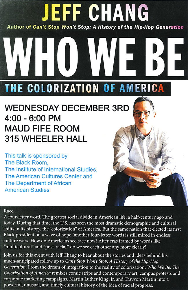 Jeff Chang cropped against white back drop on informational flyer which black block and rainbow colored letters