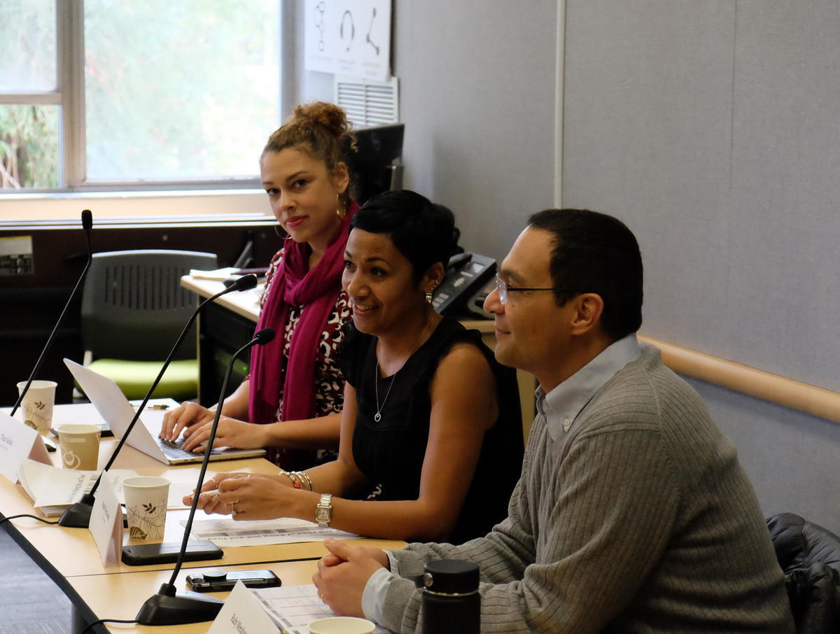 Panelists at Sick and Tired of Being Sick and Tired, (left to right) Sacks, Nuru-Jeter, Mendoza-Denton