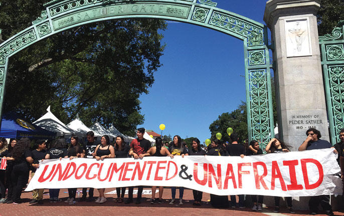 Students in support of the undocumented communities in front of Sather Gate