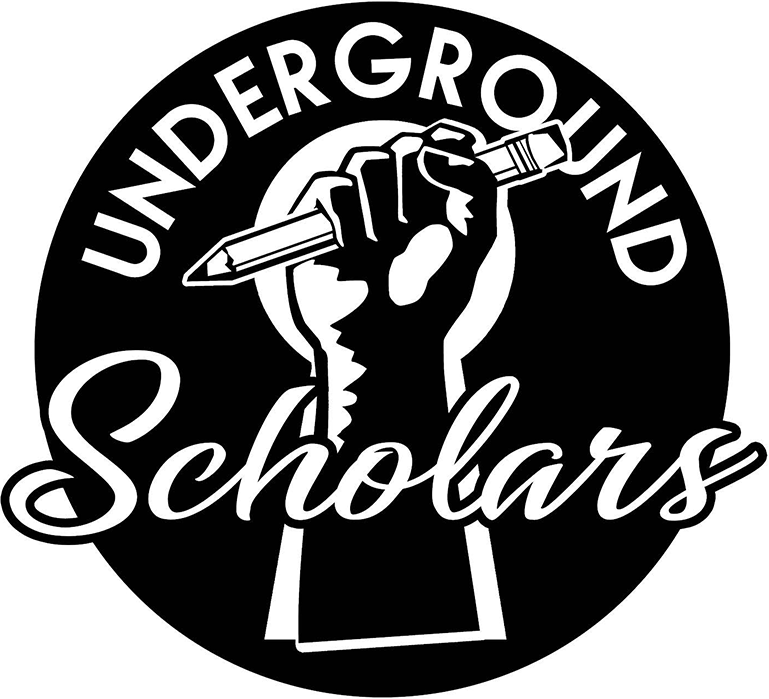 Underground Scholars 2019 Black and White Logo: A Raised Hand Gripping a Pencil