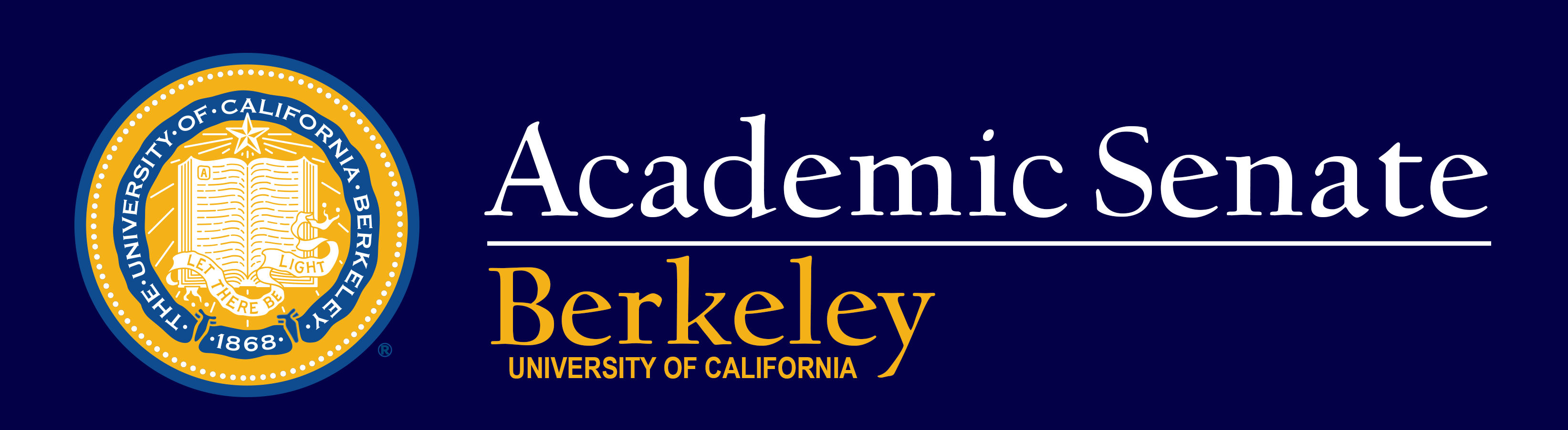 Academic Senate Logo with UC Berkeley navy and gold seal