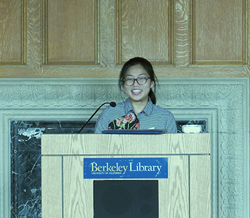 Chloe Chan giving a speech at the 2019 AC Student Prize Ceremony