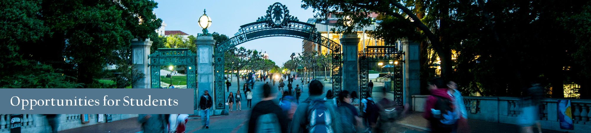 Banner for Students and Advisors page featuring students walking through Sather Gate