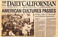 Daily Cal newspaper image announcing the passage of American Cultures in 1989