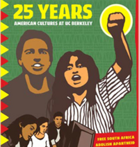 Anniversary Poster by Melanie Cervantes featuring Latino student protesters with fist raised and computers at computers