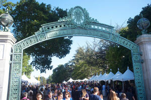 Cal Day attendants and tents near Sather Gate
