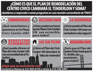 Flyer in Spanish discussing how civic center's redevelopment will change the Tenderloin district of SF