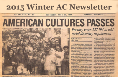 "2014 Winter newsletter with image of 1989 Daily Cal newspaper headline ""American Cultures Passes"""