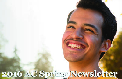 Image of Student, David Jaramillo on the cover of Spring 2016 Newsletter